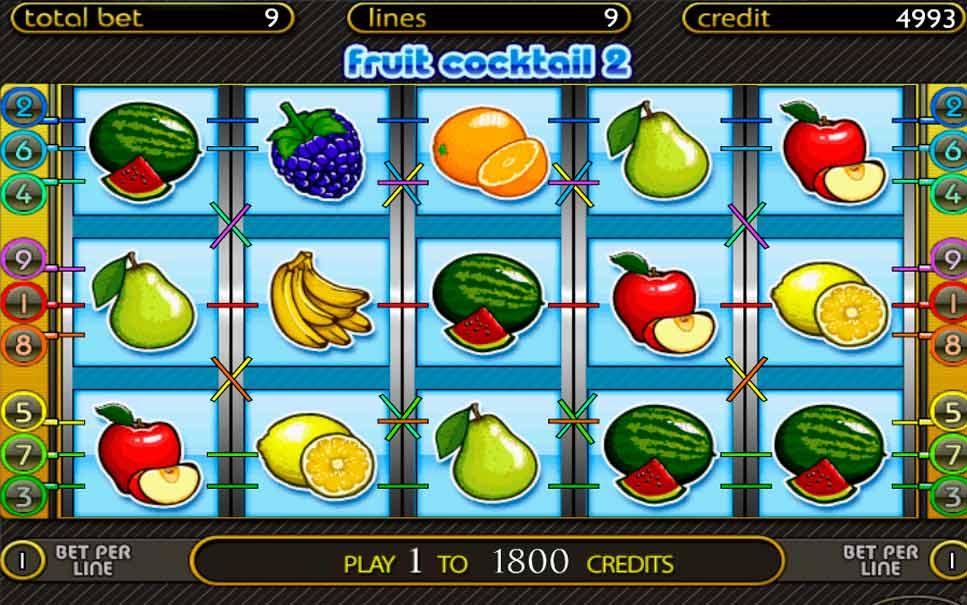 Игровые автоматы Клубнички Fruit Cocktail бесплатно играть.